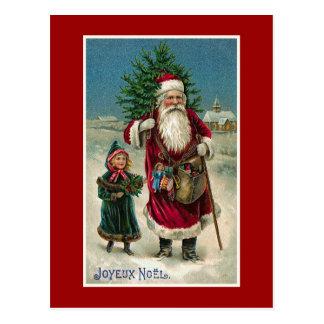 """Postal Navidad del francés del vintage de """"Joyeux Noel"""""""