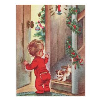 Postal Navidad del niño y del perrito del vintage