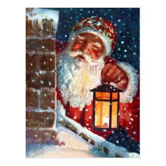 Postal Navidad del padre de Papá Noel del vintage en el