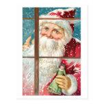 Postal Navidad del padre del vintage con el cielo Nevado