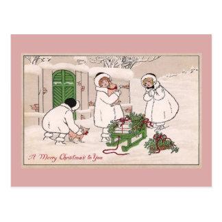 Postal Navidad del vintage de los chicas y de los cerdos