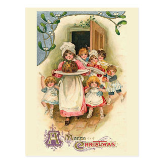 """Postal """"Navidad del vintage del banquete de la familia"""""""