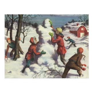 Postal Navidad del vintage, lucha de la bola de nieve de