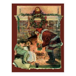 Postal Navidad del vintage, niños de Papá Noel del