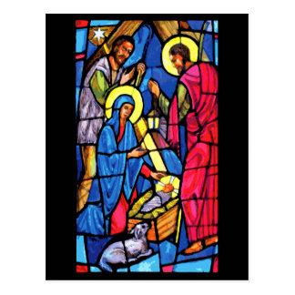 Postal Navidad del vitral de la natividad