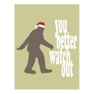 Postal Navidad divertido de Sasquatch Santa