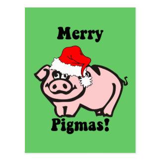 Postal Navidad divertido del cerdo