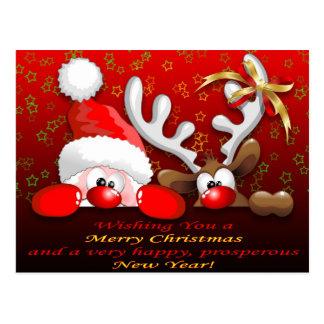 Postal Navidad divertido Postcar del dibujo animado de