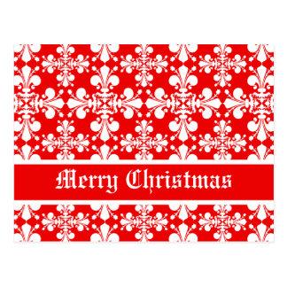 Postal Navidad elegante del damasco de la flor de lis