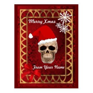 Postal Navidad gótico divertido de santa del cráneo