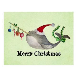 Postal Navidad lindo Narwhal