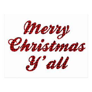 Postal Navidad meridional que saluda Houndstooth