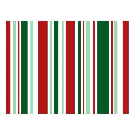 Postal Navidad moderno rojo, rayas verdes, blancas