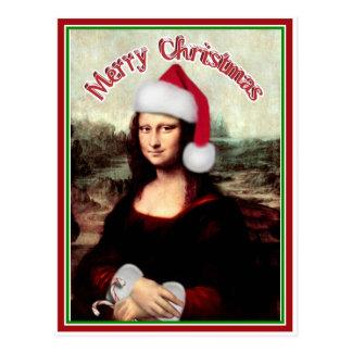 Postal Navidad Mona Lisa con el gorra de Santa