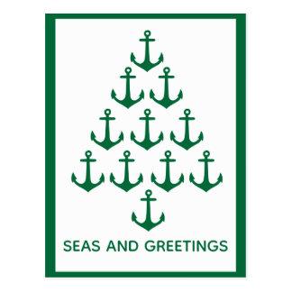Postal Navidad náutico de Coastal del árbol del ancla