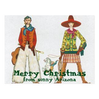 Postal Navidad occidental divertido del desgaste de