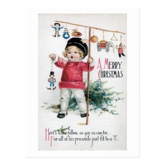 Postal Navidad pasado de moda, niño