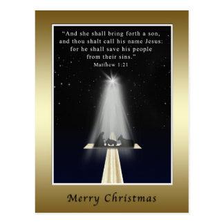 Postal Navidad, religioso, natividad y cruz