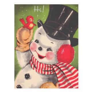 Postal Navidad retro del muñeco de nieve