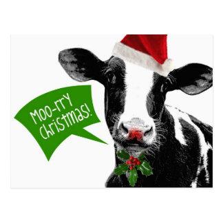 Postal ¡Navidad rry del MOO! Vaca divertida del día de