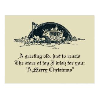 Postal Navidad rústico de la diligencia del Victorian del