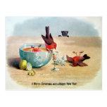 Postal Navidades de Aves Victorianas de época