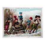 Postal Navidades victorianos del Yule Log