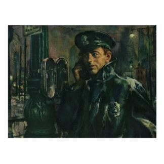 Postal Negocio del vintage, policía en el teléfono de