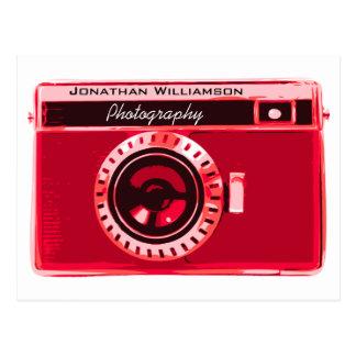 Postal Negocio rojo de la fotografía de la cámara del
