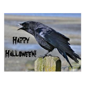 Postal negra de Halloween del cuervo
