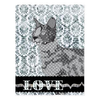 Postal negra y blanca del gato de la sabana del am