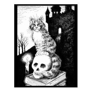 postal negra y blanca del gato de Maine del Coon