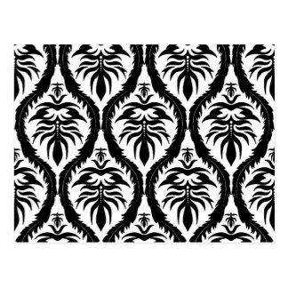 Postal Negro en el damasco blanco floral