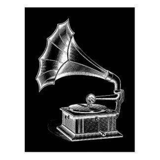 Postal Negro musical del tocadiscos del fonógrafo del