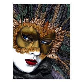 Postal Negro y máscara del carnaval del oro por PSOVART