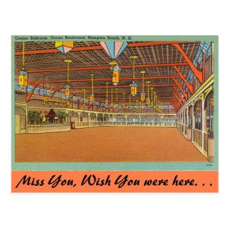 Postal New Hampshire, salón de baile del casino, playa de