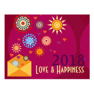 Postal New Year Happiness greeting postcards