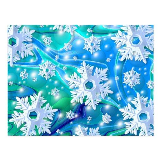 Postal Nieve azul