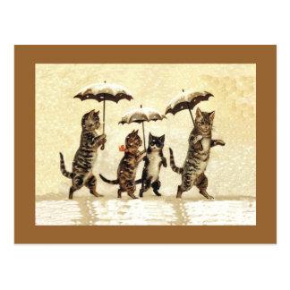Postal Nieve de los paraguas de los gatos del vintage