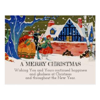 Postal Nieve de lujo del día de fiesta del navidad del