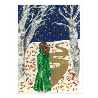 Postal Nieve del navidad y un búho aventurero
