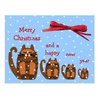 Postal nieve gorda grande de Navidad del rufus del gato