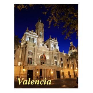 Postal Nightview de la plaza Ayuntamiento, Valencia,
