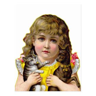 Postal Niña del Victorian del vintage con arte del gato y