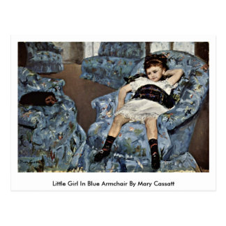 Postal Niña en butaca azul de Mary Cassatt