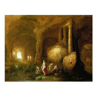Postal Ninfas que se bañan por ruinas clásicas