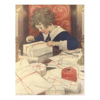 Postal Niño de la Nochebuena del vintage, Jessie Willcox