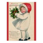 Postal Niño del navidad del Victorian del vintage con
