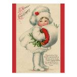 Postal Niño del navidad del Victorian del vintage con el