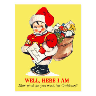 Postal Niño que juega Santa